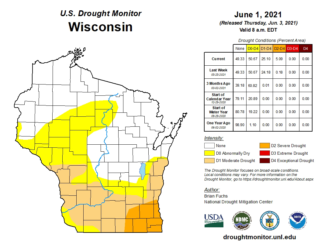 Map showing intensity of drought conditions in Wisconsin as of June 1, 2021