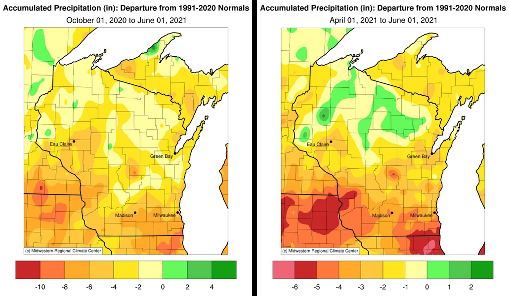 Two maps showing departure from 1991-2020 normals for precipitation in Wisconsin