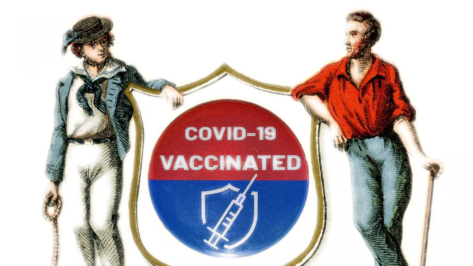 An illustration with two figures from the Wisconsin coat of arms leaning on a shield with a button reading COVID-19 vaccinated.