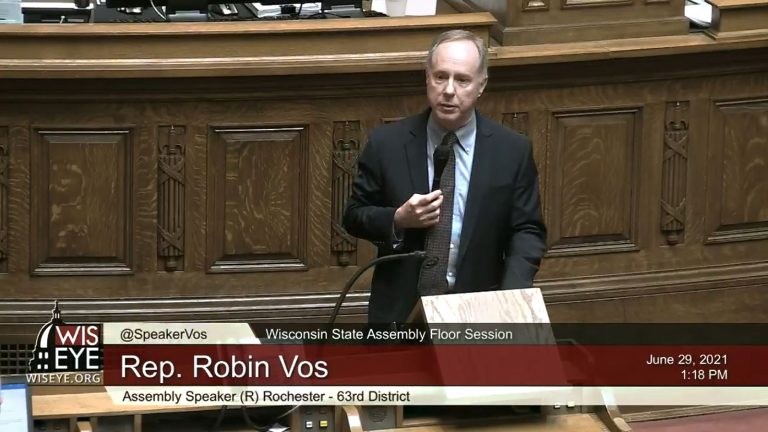 Screenshot of Robin Vos speaking from the dais of the Wisconsin Assembly chambers