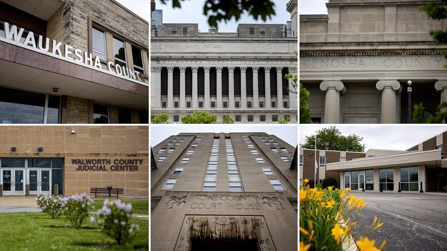 Collage of photos of front facade of six county courthouses in Wisconsin: Waukesha, Milwaukee, Kenosha, Walworth, Racine and Jefferson