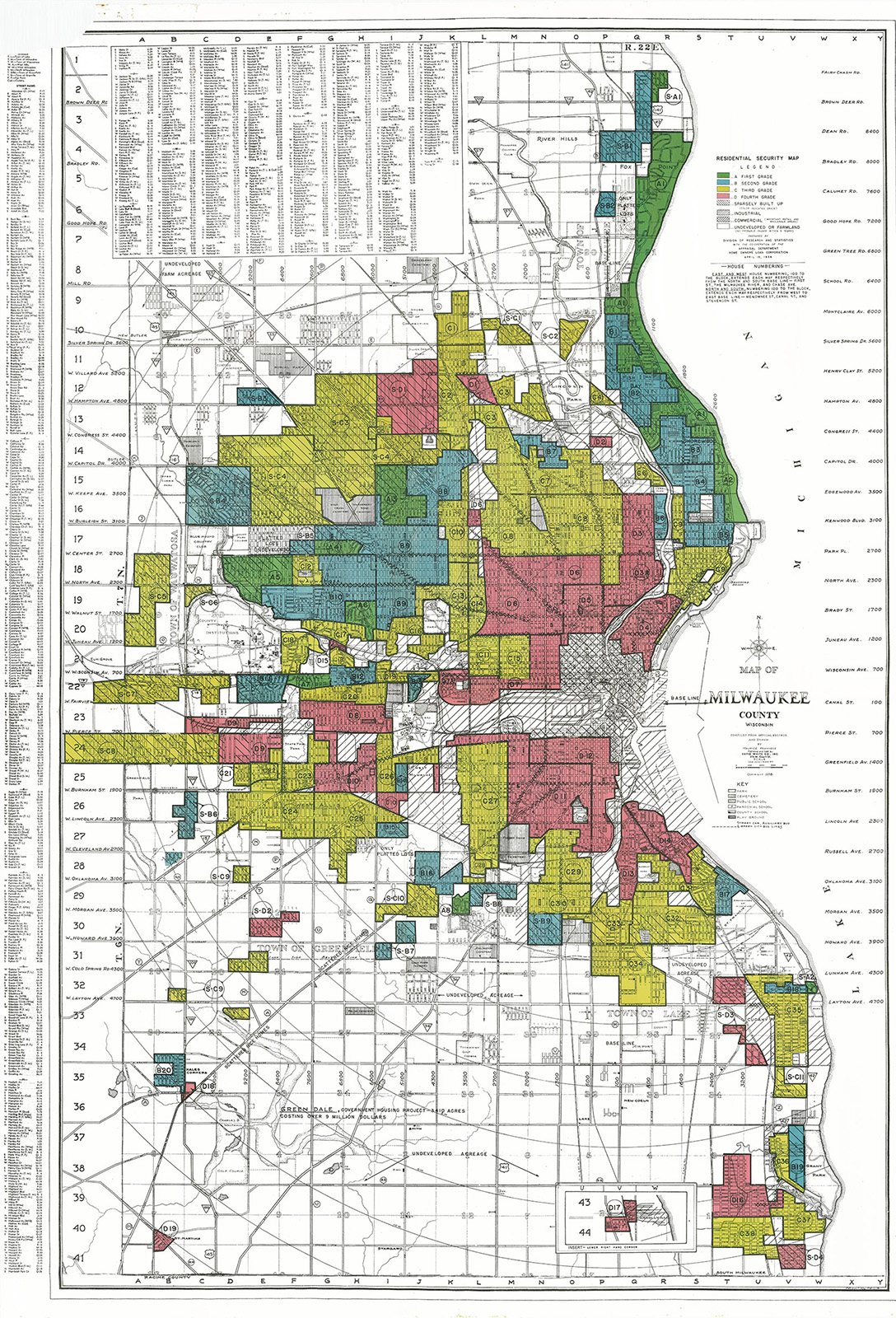 A 1938 map of Milwaukee with color-coding of neighborhoods in red, yellow, blue and green.