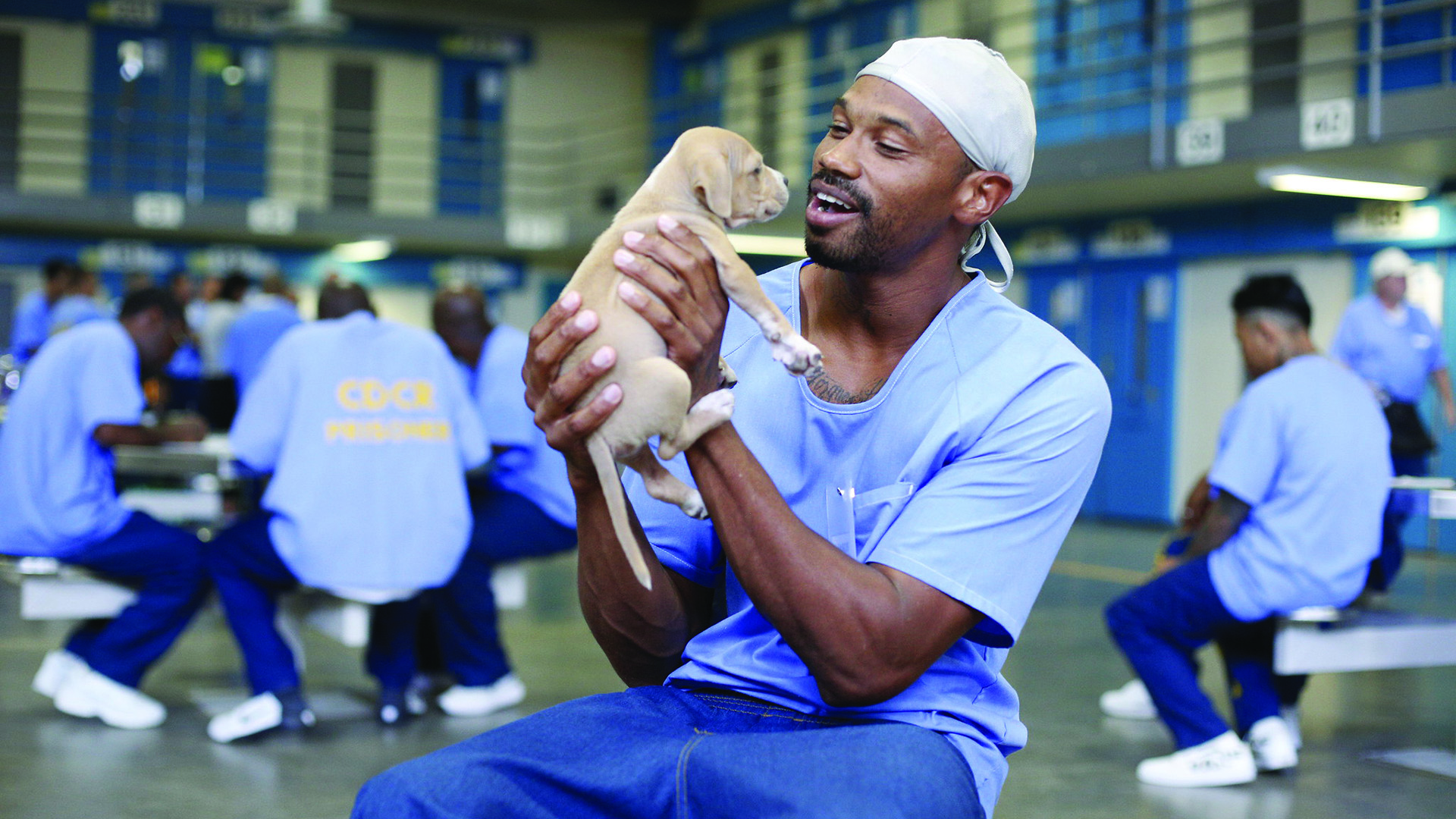 A man inside a prison holds a young puppy