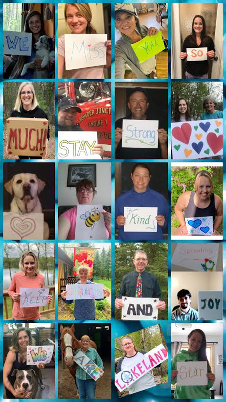 """Photo collage of school staff showing message that reads: """"We miss you so much stay strong (hearts) ... (bee illustration) kind ... Keep (illegible) and spreading joy ... We are Lakeland STAR"""