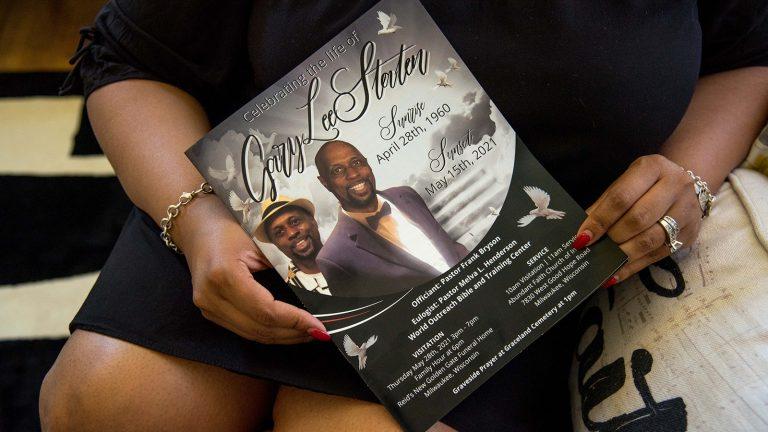 Shenora Staten-Jordan holds funeral notice for Gary Lee Staten