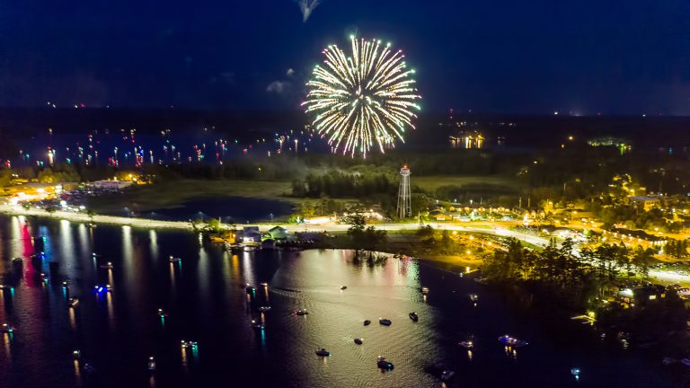 Aerial photo of fireworks over water