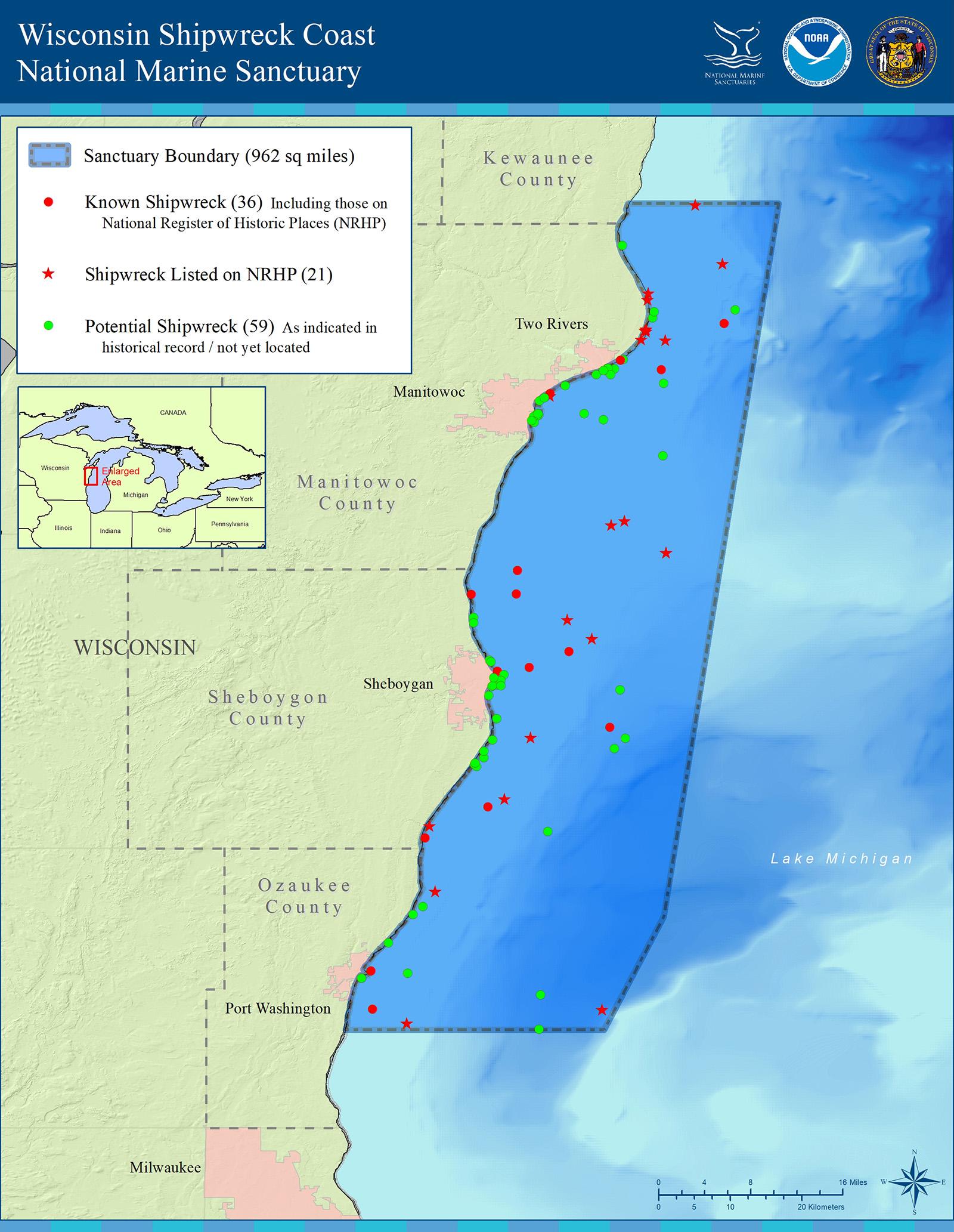Map of Wisconsin Shipwreck Coast National Marine Sanctuary