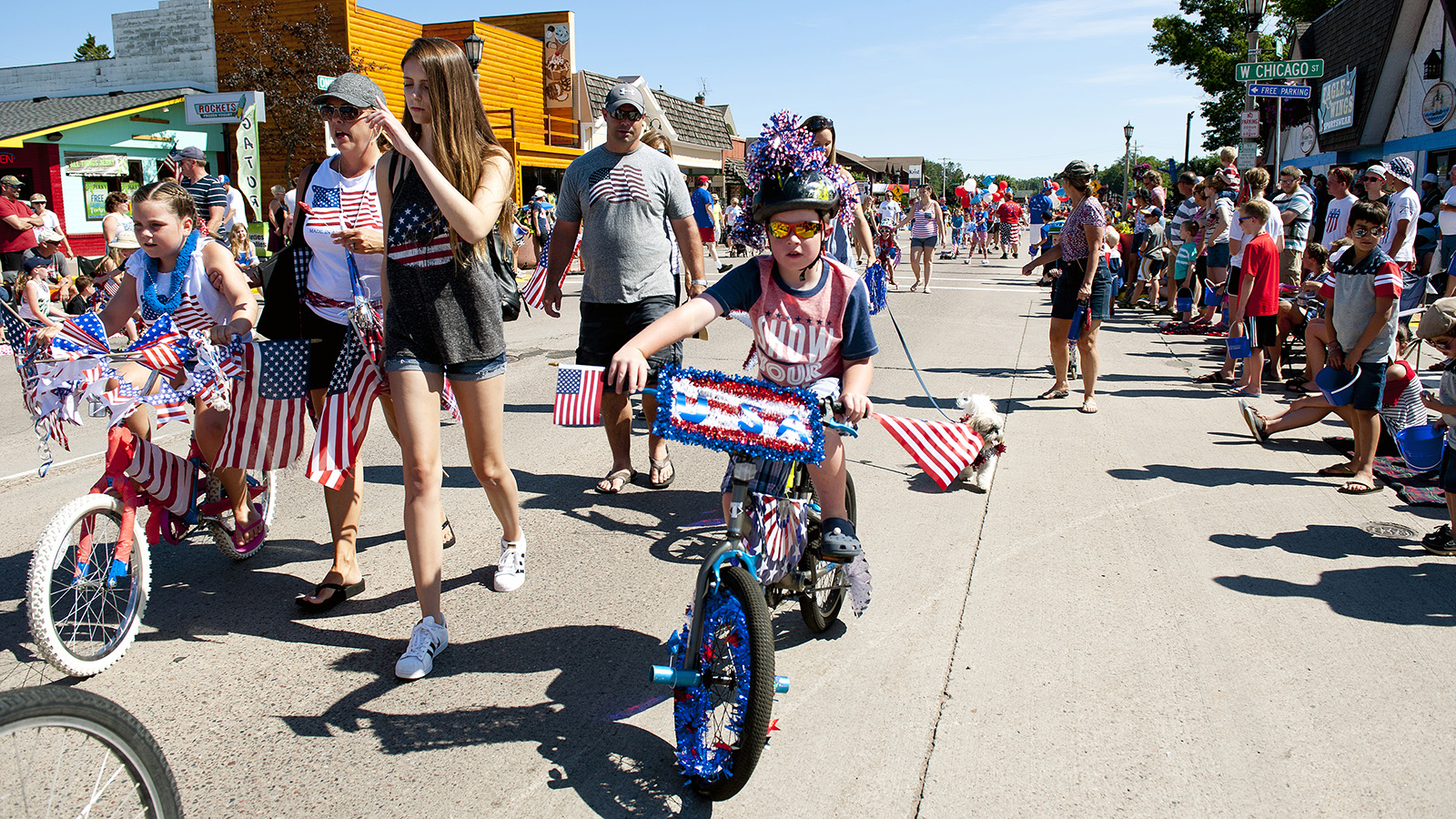 Children on bikes at Fourth of July parade