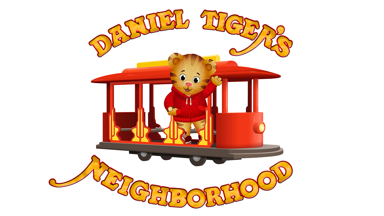 An illustration of Daniel Tiger waving from a trolly