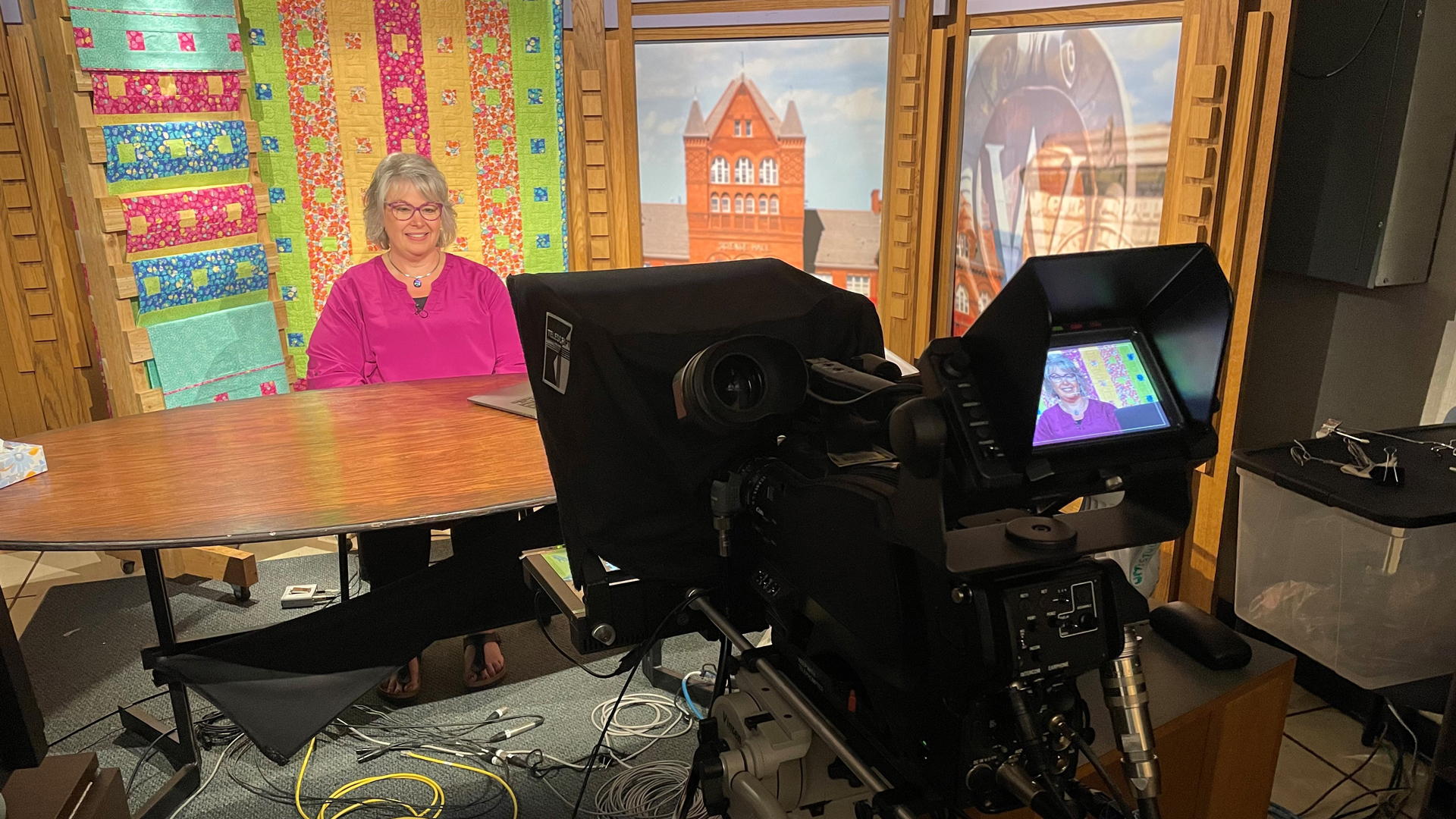 Deanna Springer in the recording studio for The Great Wisconsin Quilt Show