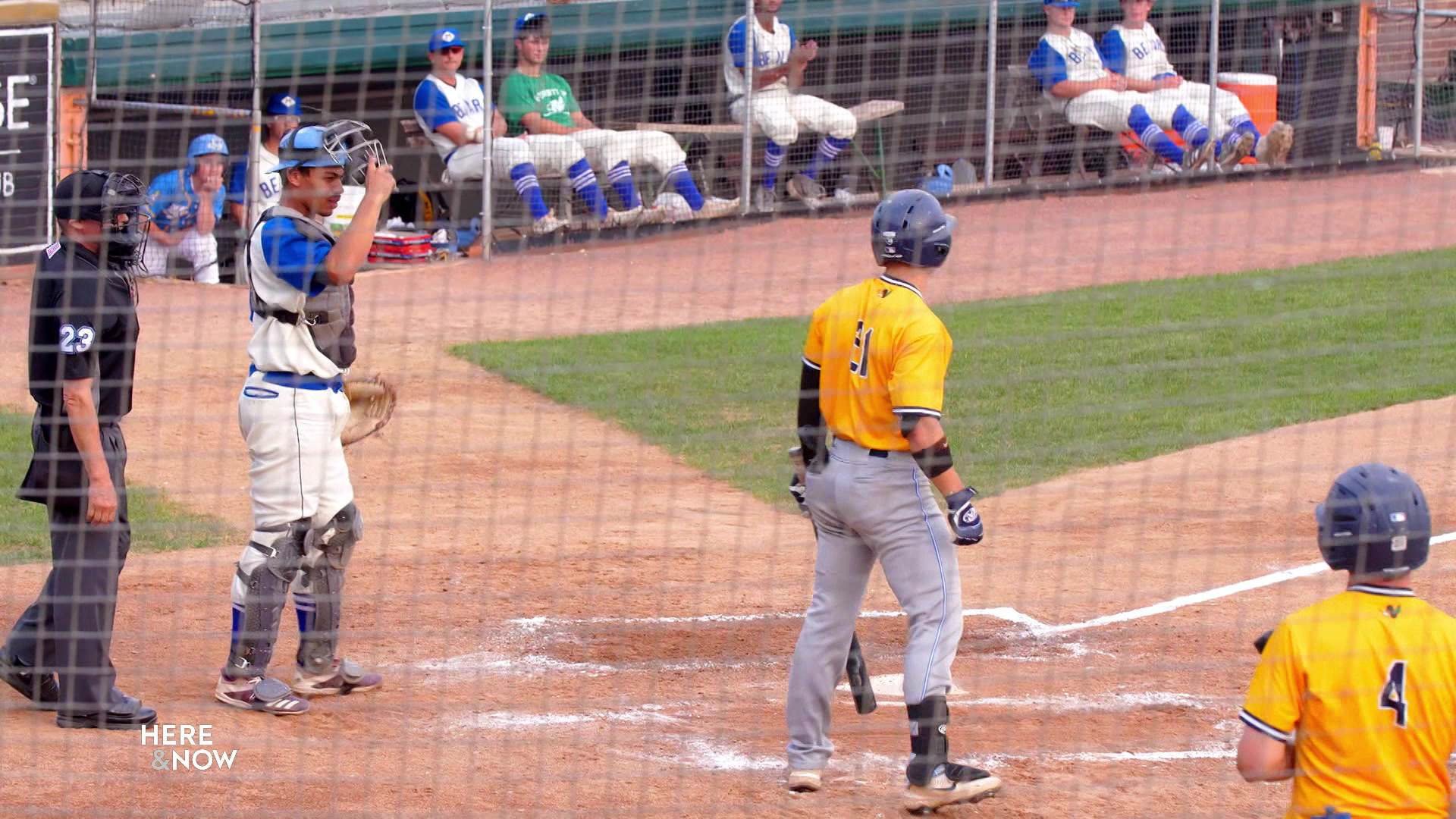 Madison Mallards catcher Drake Baldwin stands up behind home plate as a batter stands outseid the batter box.
