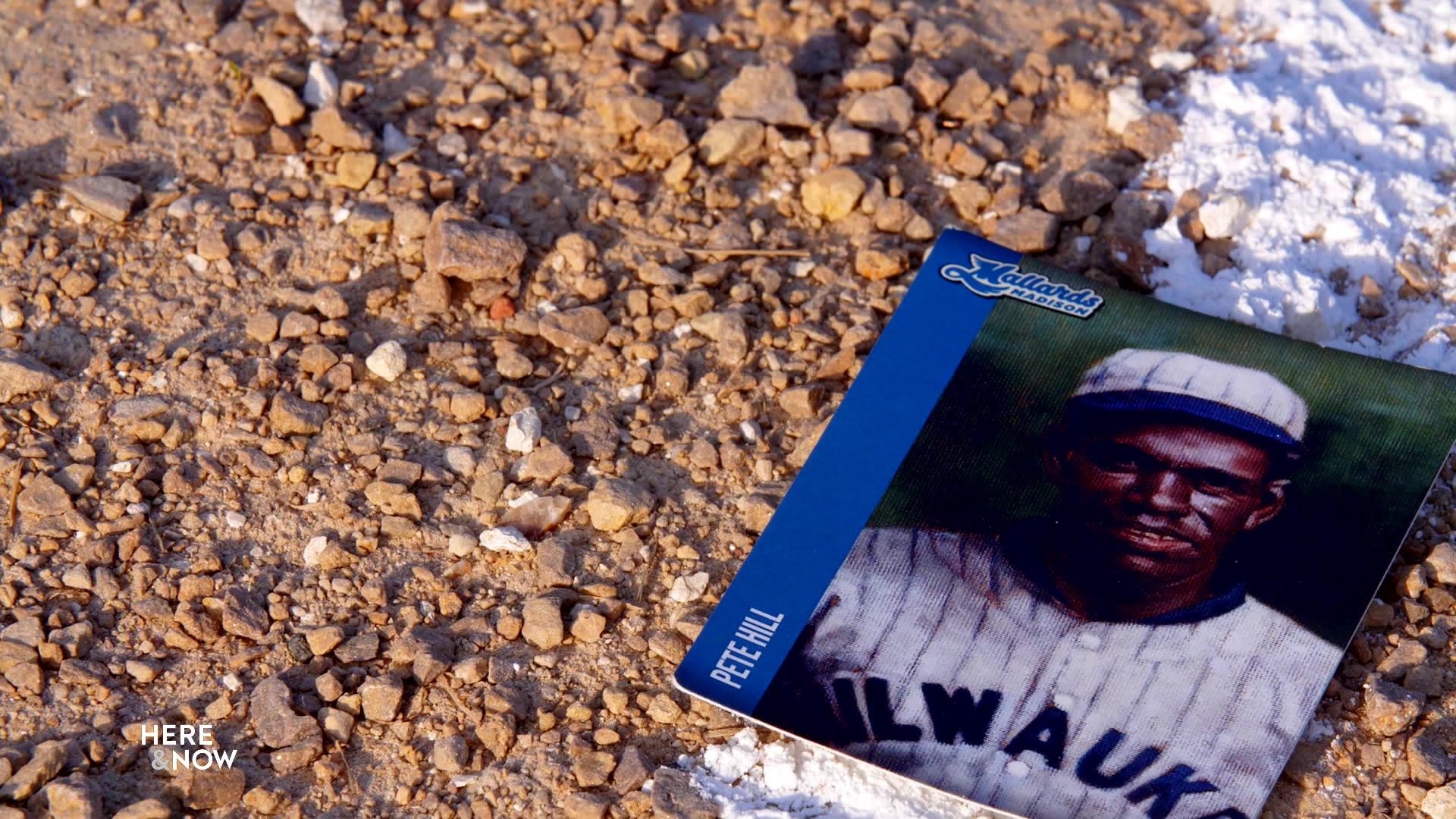 Madison Mallards promotional baseball card of Pete Hill on fair/foul line marker