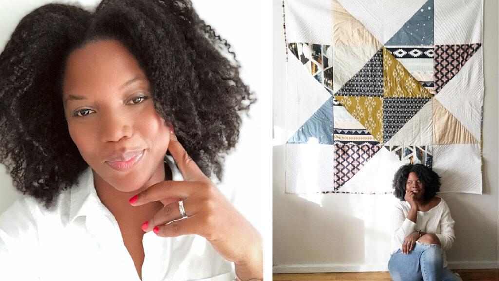 A headshot of Porfiria Gomez next to her Big Block Quilt project