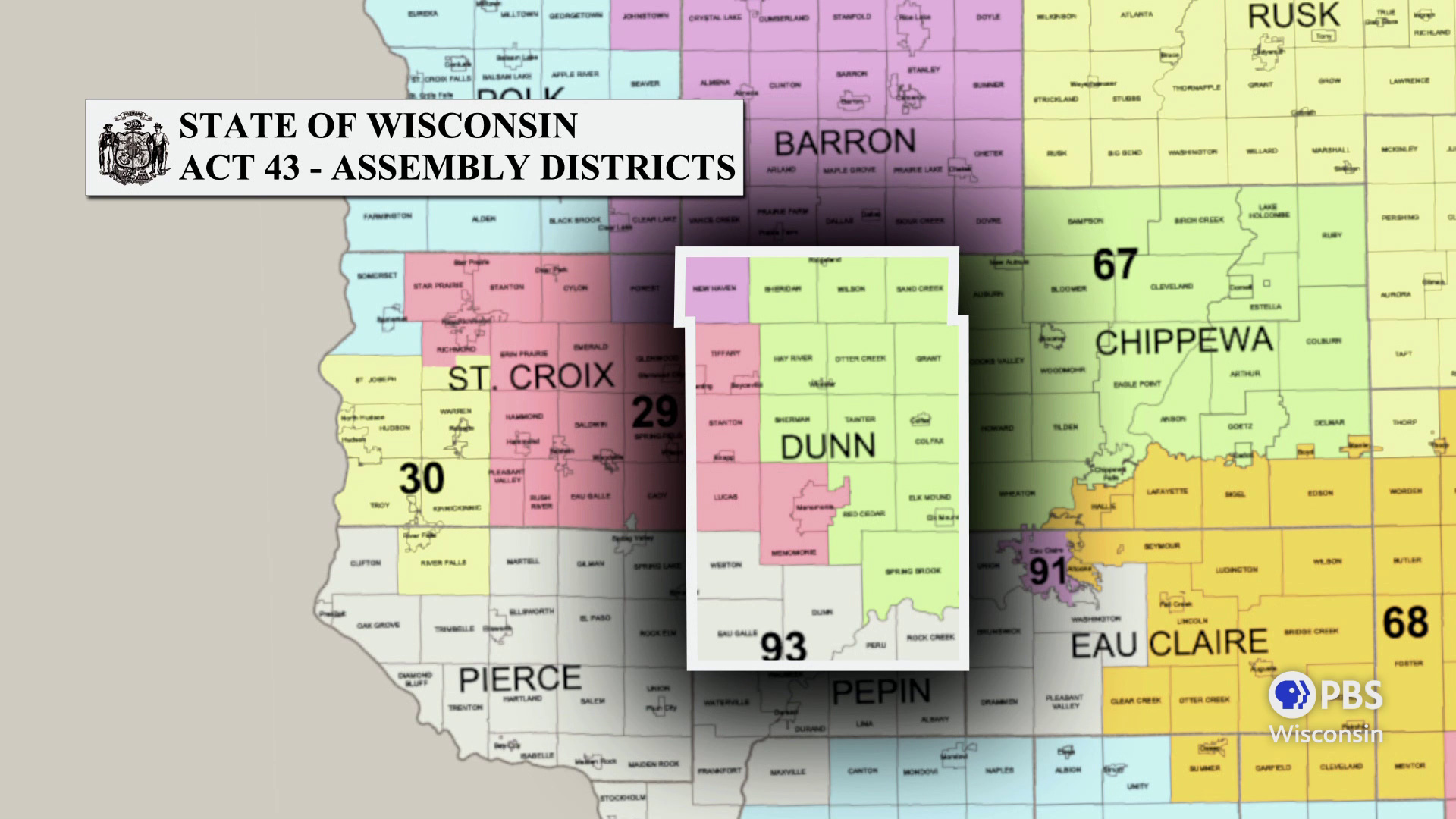 Dunn County is highlighted in a map showing Wisconsin Assembly districts defined in 2011 Act 43.