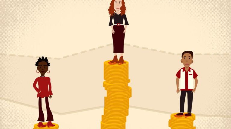 An illustration shows three individuals — Black, white and Hispanic — standing on stacks of coins of varying heights.