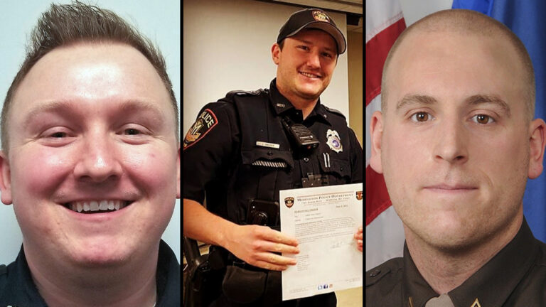 A photo collage showing, left to right, a portrait of Officer Riley Schmidt, Officer Jacob Ungerer holding a letter, and a portrait of Officer Ben Dolnick.