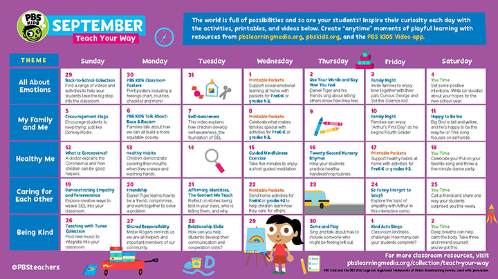 a colorful September 2021 calendar with PBS Kids characters displayed amid details of daily activities