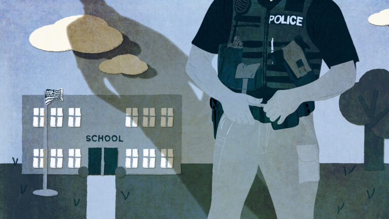 Illustration of a police officer in a vest and a shadow looming over a square building with a flagpole and sign reading SCHOOL.