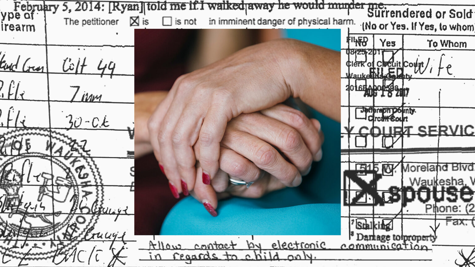An illustration showing a photo of two women holding hands superimposed on legal documentation about spousal abuse.