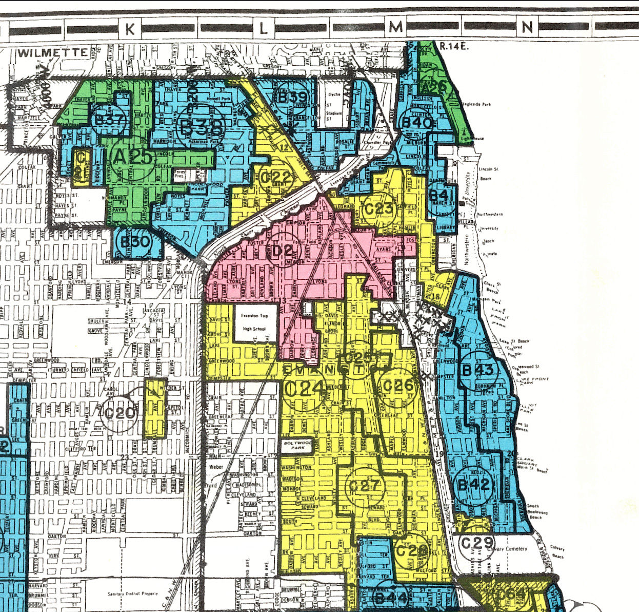 A map shows the redlined sections of Evanson, Illinois in the mid-20th century.