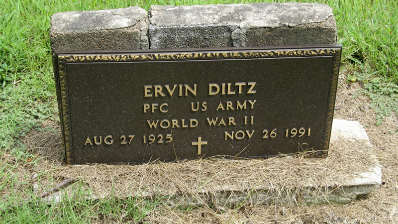 A grave marker for Ervin Diltz, PFS U.S. Army, World War II, born Aug. 27, 1925 and died Nov. 26, 1991.