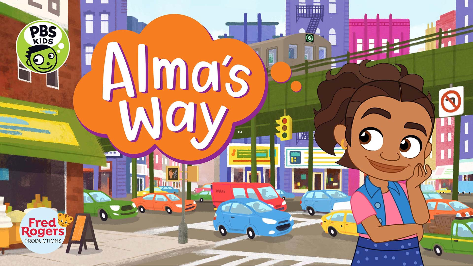 An illustration of a young Latinx girl on the sidewalk amid a bustling city corner