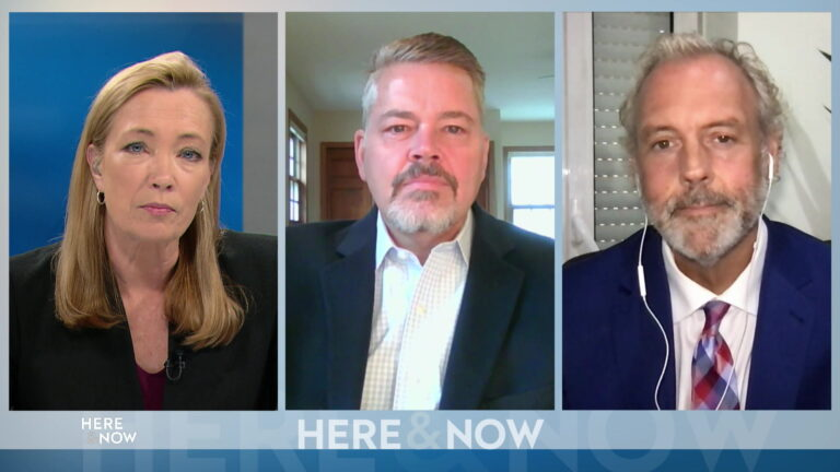 From left to right, a split screen with Frederica Freyberg, Bill McCoshen and Scot Ross seated in different locations