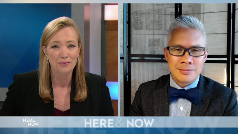 From left to right, a split screen with Frederica Freyberg and Dr. Greg Vanichkachorn seated in different locations