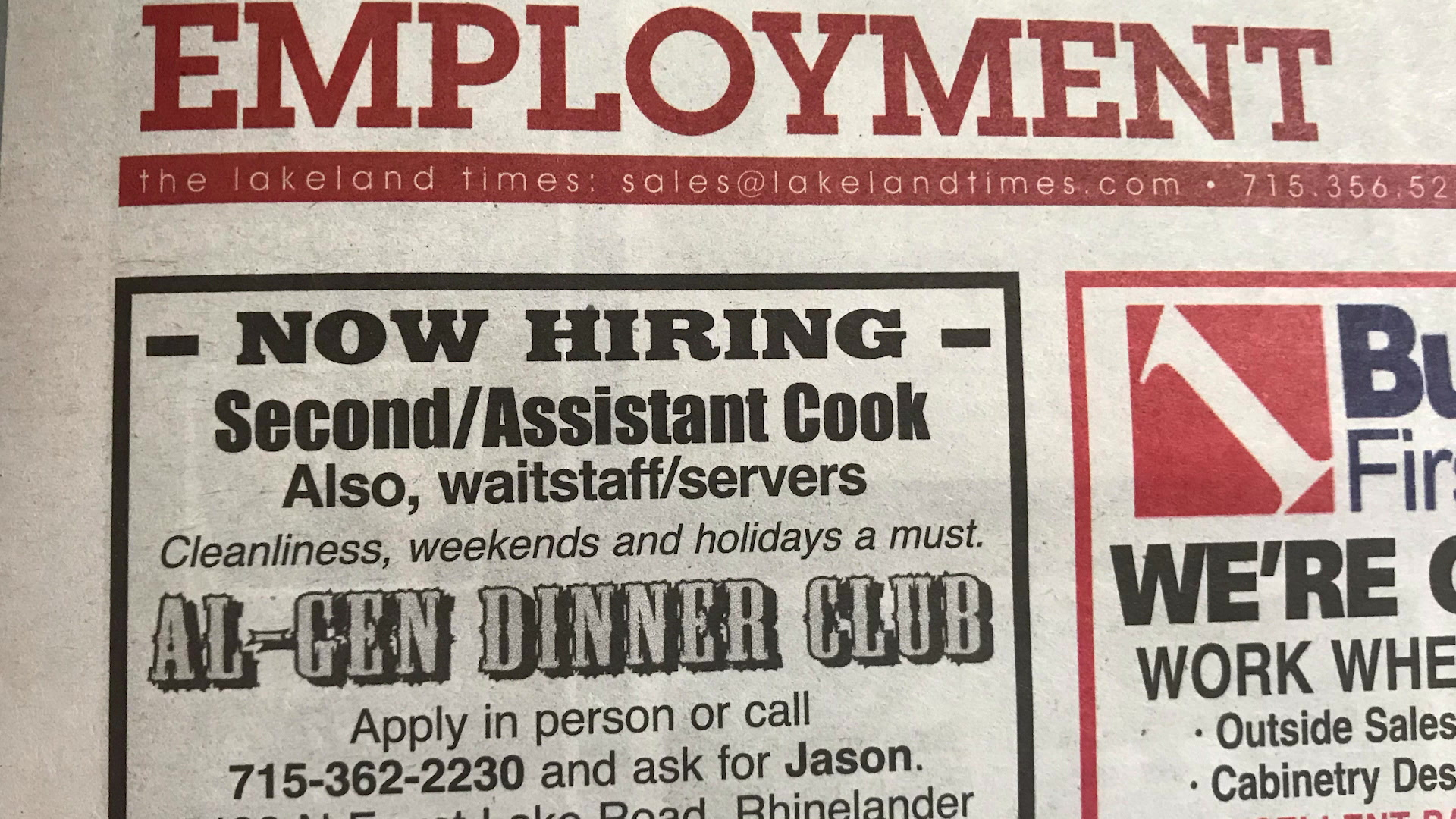 """A newspaper job ad for Al-Gen Dinner Club reads """"Now Hiring: Second/Assistant Cook also, waitstaff/servers: Cleanliness, weekends and holidays a must."""""""