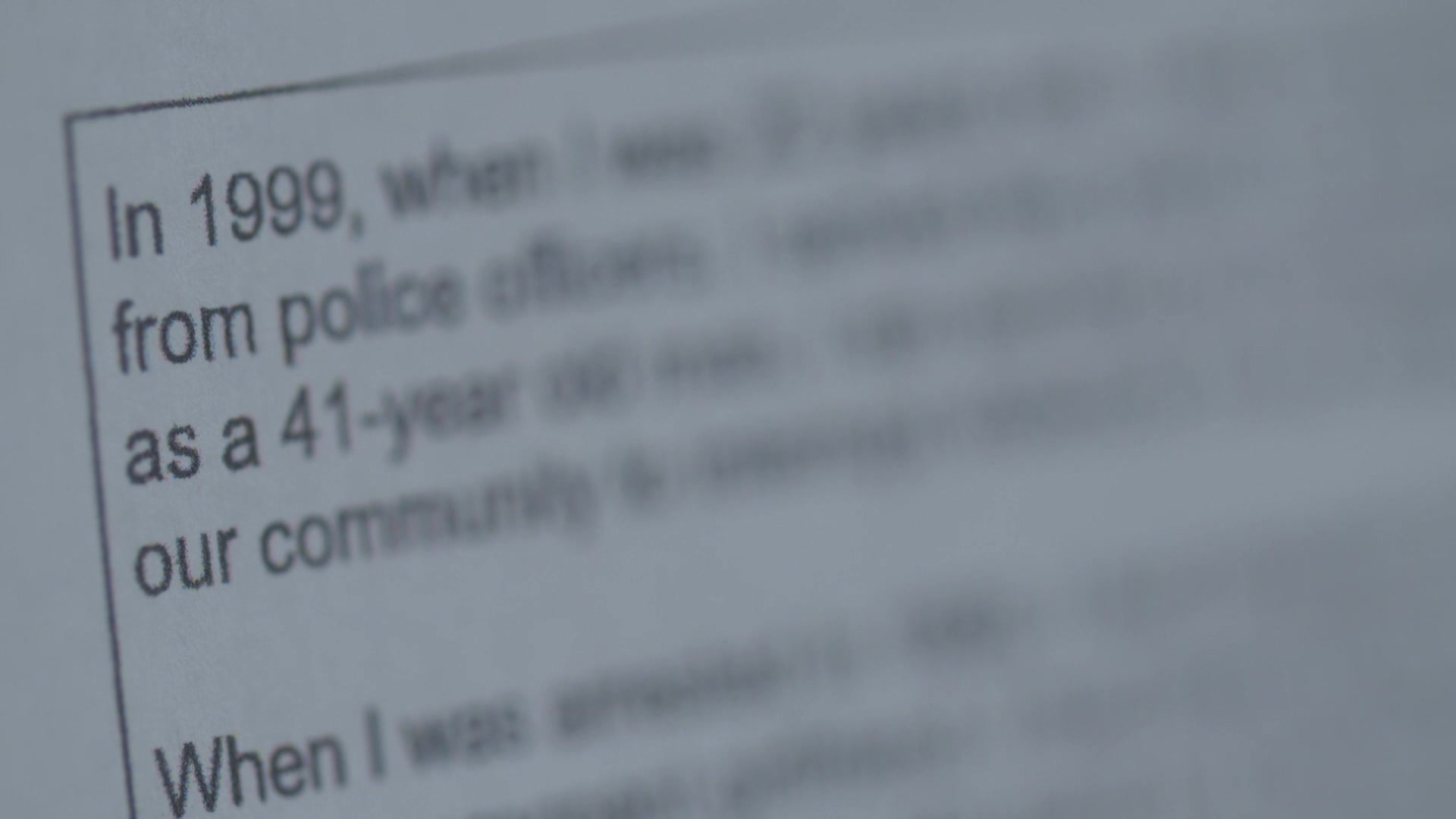 A pardon application letter with most words blurred out